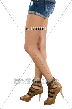 Beautiful Femail Legs In Shoes Stock Photo
