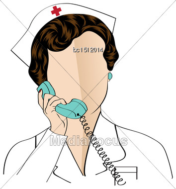 Beautiful Friendly And Confident Nurse Talking By Phone, Vector Illustration Stock Photo