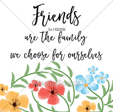 Beautiful Friendship Quote With Floral Watercolor Background, Vector Format Stock Photo