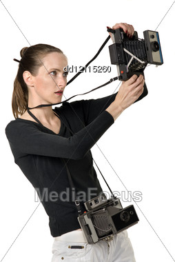 Beautiful Girl With Two Vintage Cameras, Isolation On White Stock Photo