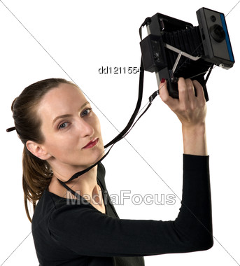 Beautiful Girl Whit Vintage Camera, Isolation On White Stock Photo