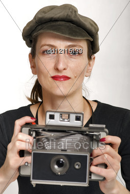 Beautiful Girl Whit Vintage Camera, Retro Photo Stock Photo
