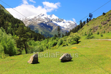 Beautiful Landscape With Caucasus Mountains Stock Photo