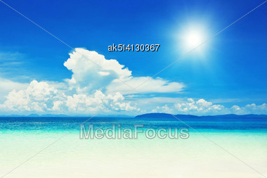 Beautiful Lonely Beach In Krabi Province, Thailand Stock Photo