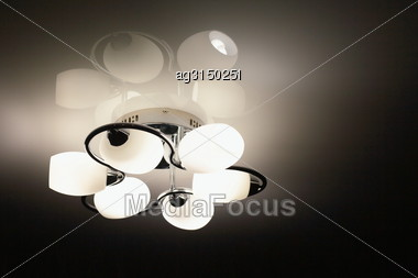 Beautiful Modern Night Light With Additional Color Highlights On Suspended Ceilings Stock Photo