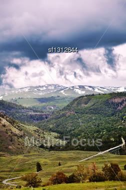 Beautiful Mountain Landscape With Dramatic Sky Stock Photo