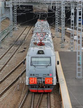Beautiful Photo Of High Speed Modern Commuter Train, Motion Blur Stock Photo