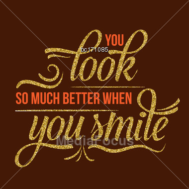Beautiful Quote With Golden Glittering Details, Vector Format Stock Photo