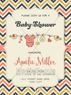 Beautiful Retro Baby Shower Card Template With Golden Glittering Details, Vector Format Stock Photo