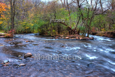 Beautiful River Rapids In High Dynamic Range. Stock Photo