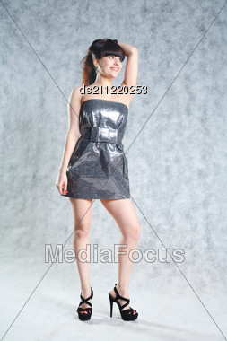 Beautiful And Sexy 20-25 Years Brunette Girl In Dress Stock Photo