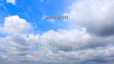 Beautiful Summer Sky With White Clouds Stock Photo