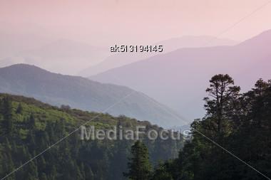 Beautiful Sunrise In Himalaya Hills Stock Photo