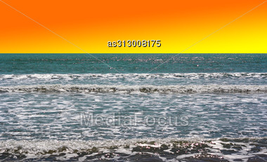 Beautiful Sunset Above The Pacific Ocean Stock Photo