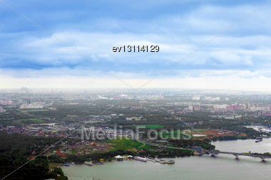 Beautiful View Above The Earth On Landmark Down Stock Photo