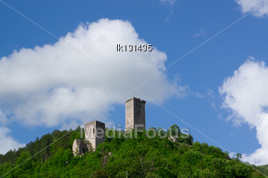 Beautiful View Of Ancient Towers Castles In Italy In The High Mountains 1,500 Meters Above Sea Level Stock Photo