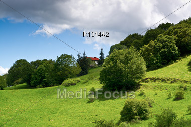 Beautiful View Italy In The High Mountains 1,500 Meters Above Sea Level Stock Photo