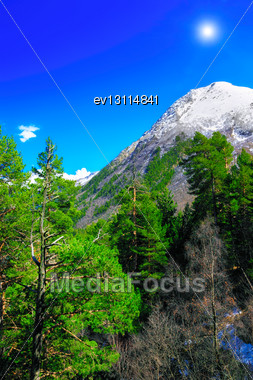 Beautiful View Of Mountains In The Elbrus Area.Europe Stock Photo