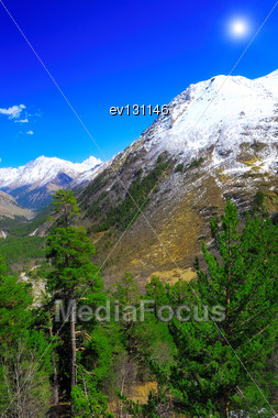 Beautiful View Of Mountains In The Elbrus Area. Land View Stock Photo