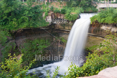 Beautiful Waterfall At Minnehaha Falls In Minnesota Stock Photo
