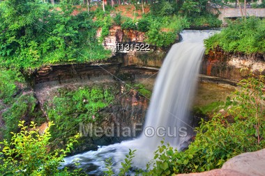 Beautiful Waterfall At Minnehaha Falls In Minnesota In High Dynamic Range Stock Photo