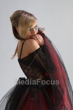 Beautiful Woman In Diaphanous Skirt Stock Photo
