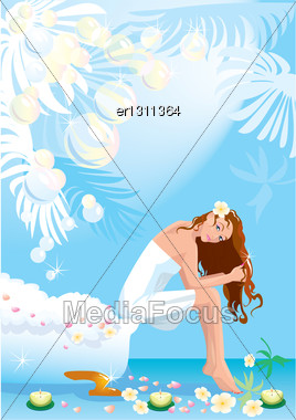 Beautiful Woman In Spa Center And Bath With Soapsuds And Soap Bubbles Stock Photo