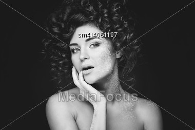 Beautiful Woman With White Sugar On Her Face Stock Photo