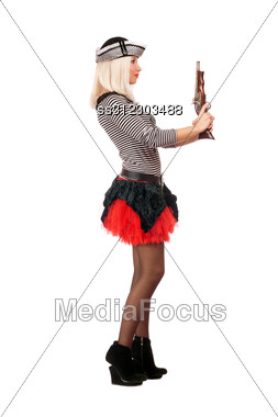 Beautiful Young Blonde With Guns Dressed As Pirates Stock Photo