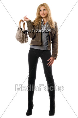Beautiful Young Blonde With A Handbag. Stock Photo