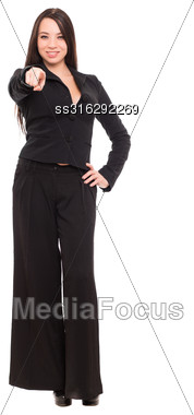 Beautiful Young Brunette Wearing Black Business Suit. Isolated On White Stock Photo