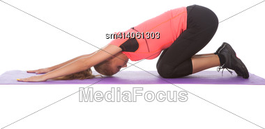 Beautiful Young Girl In Sport Clothes Doing Sport Exercise Over White Background Stock Photo