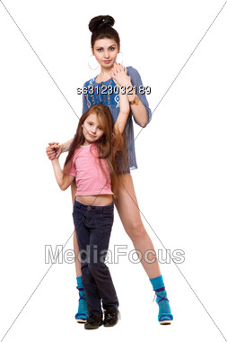 Beautiful Young Mother And Little Daughter. Stock Photo