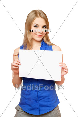 Beautiful Young Woman Holding Empty White Board. Stock Photo