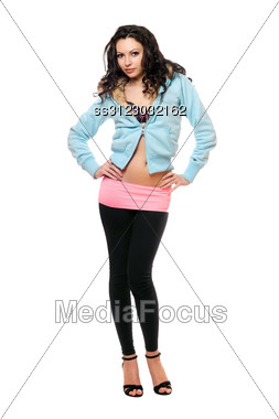 Beautiful Young Woman In A Black Leggings. Stock Photo