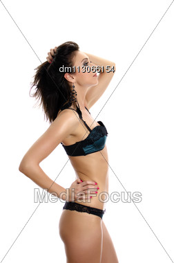 Beautiful Young Woman Posing In Green Lingerie. Isolated Over White Stock Photo