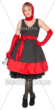 Beautiful Young Woman Wearing Black And Red Dress. Isolated On White Stock Photo