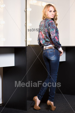 Beautiful Young Woman Wearing Fashionable Clothes Stock Photo