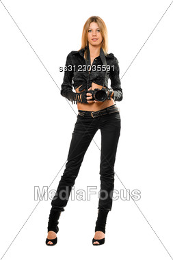 Beautiful Young Woman With A Photo Camera Stock Photo