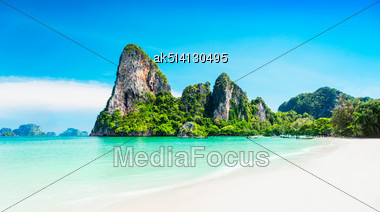Beauty Beach And Limestone Rocks Stock Photo