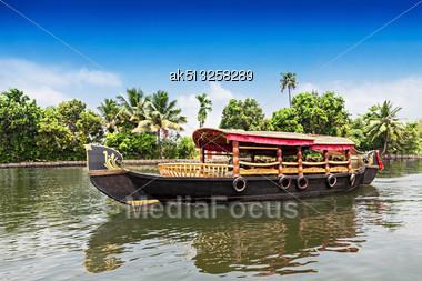 Beauty Boat In The Backwaters, Kerala, India Stock Photo