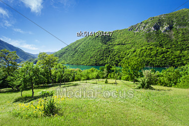 Beauty Green Mountains With Dramatic Sky Background Stock Photo