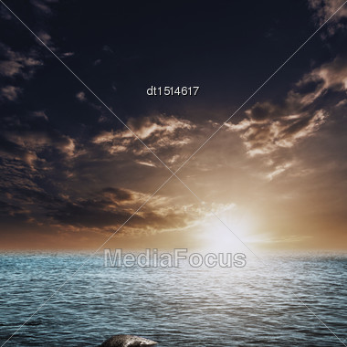 Beauty Sunset On The Sea, Abstract Natural Landscape Stock Photo