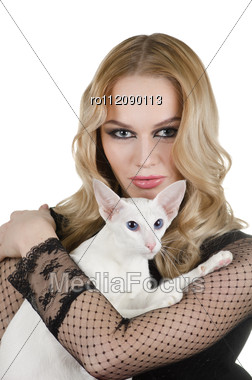 Beauty Young Blond Woman With Oriental Shorthair Cat On A White Stock Photo