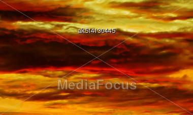 Beautyful Orange Sunset In Ubud, Bali Island Stock Photo