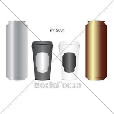 Beer Cans And Coffee Cups Stock Photo