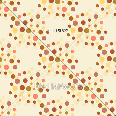 Beige And Brown Colors Dotted Seamless Pattern. Polka Dot Vector Pattern Stock Photo