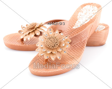 Beige Shoes Isolated On White Background Stock Photo