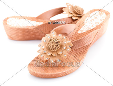 Beige Shoes Isolated On White Background Stock Photo