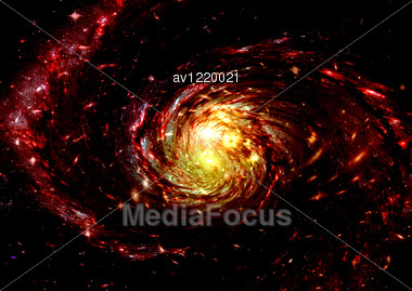 Being Shone Spiral Gas Nebula And Stars In A Far Space Stock Photo